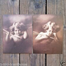 2 Original 1940s CUPID AWAKE & ASLEEP BABY SEPIA Art Prints Lithographs Print