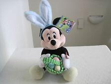 "Disney MICKEY MOUSE EASTER BUNNY EGGS BASKET 12"" Plush Stuffed Animal"