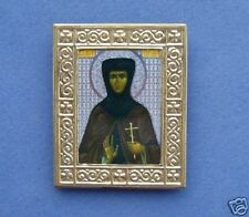 ORTHODOX RUSSIAN ICON ST EUGENIA,brass frame