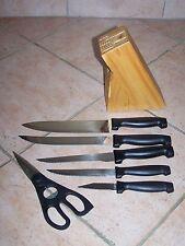 Bloc Bois avec service de Couteaux - 6 pièces  Stainless