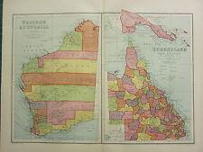 1904 ANTIQUE MAP ~ WESTERN AUSTRALIA ~ QUEENSLAND & NEW GUINEA KIMBERLEY