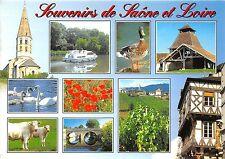 B50142 Images de Saone et Loire boats bateaux vaches cows geese jars   france