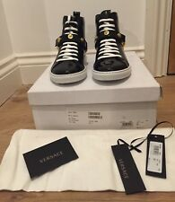 Versace Black Patent Leather Trainers With Medusa Head Gold Studs UK 5/EU 38
