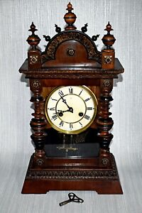 ANTIQUE JUNGHANS 8 DAY MANTEL CLOCK c1910