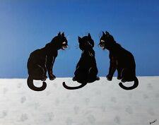 """Gabriel Donnet """" Histoires de chats """" Tableau naïf original -"""