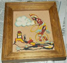 Vtg Rainbow Way Hoop Dancer 343 Sand Art New Mexico Southwestern Framed Art