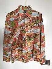 Vintage Polyester Disco 70s Mod Shirt Size Medium Animal Print Taper Fit
