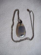 "Vintage grey semi precious gemstone pendant on sterling silver chain,18"""