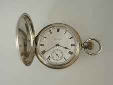 ELGIN 16s 17J 3 Finger bridge Silver HUNTER pocket watch c1911 NO RESERVE