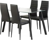 "Abbey 47"" 4 Seater Dining Set with 4 Black Faux Leather Chairs and Glass Table"