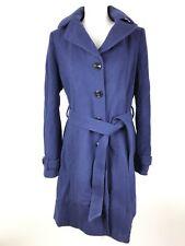 $298 Diane Von Furstenberg DVF Large Wool Cashmere Blend Coat Hooded Belt Blue