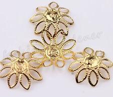 50Pcs Hollow Filigree Plated Metal Flower Bead Caps Findings DIY Jewelry 20mm