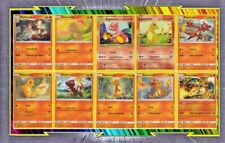 🌈Lot de 10 cartes Salamèche, Reptincel et Dracaufeu Françaises Neuves - Pokemon