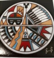 "Vtg Earthtones Native American Ceramic Tile Trivet Wall Hanging signed 1990 6""x6"