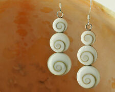 Sterling Silver Three Circle Shiva Shell Earrings