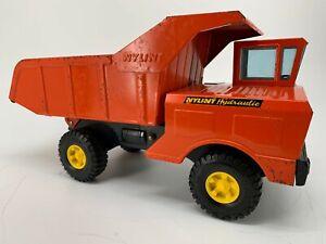 "NYLINT DUMP TRUCK Hydraulic Vintage Metal Toy Orange Black Yellow 18"""
