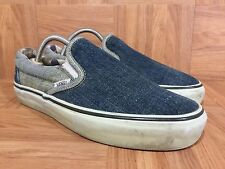 RARE🔥 VANS Loomstate Washed Denim Size 7 Classic Slip On Sneakers Blue Jeans LE