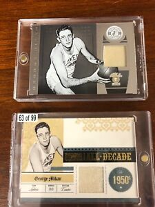 GEORGE MIKAN GAME WORN CARD LOT (2) NATIONAL TREASURES /99 CERTIFIED  BOTH MINT