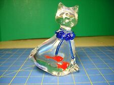 CLEAR GLASS CAT PAPERWEIGHT WITH BLUE RIBBON NECKLACE & 2  GOLDFISH IN BELLY