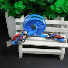 Blue USB Data Charger Cable Sync Cord with Super Man for Android Phone