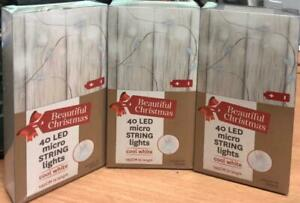 Pack of 3 Beautiful Christmas 40 LED Micro String Light Cool White/195 CM Length