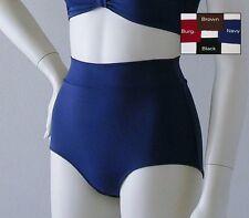 Retro High Waisted Bikini Bottom in Black, Navy, Burgundy or Brown in S-M-L-XL