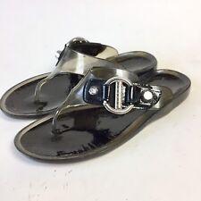 1001307ec89409 Stuart Weitzman Women s Gray Rubber Jelly Silver T-Strap Thong Sandals Size  6