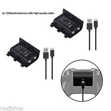 2x Play and Charge Kit 1200mah Rechargeable Battery for Xbox One 1yr