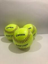 """Three (3) New Worth 12"""" Official League Softball Slow Pitch yellow Ywcs12"""