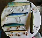 "Lot of 5 Vintage 7"" Wooden Fishing Surf Lures Gibbs Masterlure Atom CapN'Bill .."