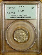 1937-D 3 Legs PCGS VF20 Buffalo Nickel - Old Green Holder