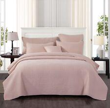 Tache Solid Blush Pink Pastel Cotton Bohemian Stonewashed Bedspread Quilt Set