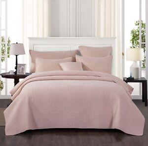 Tache Cotton Stone Washed Blush Pink Pastel Spring Bohemian Rustic Bedspread Set