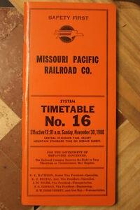 MISSOURI PACIFIC RAILROAD SYSTEM EMPLOYEE TIMETABLE  #16  NOVEMBER 30, 1980-MINT