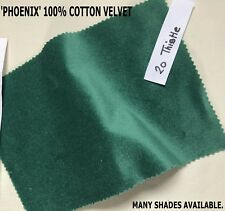1 PR MADE TO ORDER THISTLE GREEN COTTON VELVET, LINED CURTAINS WIDE LONG BAY MTM