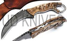 UD HANDMADE 1095 FIXED BLADE DAMASCUS ART FULL TANG KARAMBIT KNIFE QM-22334