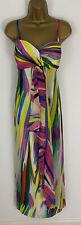 Costa Maxi Vestido Amarillo Rosa rayas arco iris de seda plisado Bustier Multi UK 12