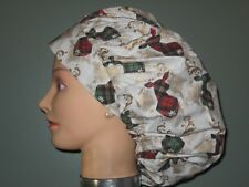 Surgical Scrub Hats/Caps Christmas  Plaid Deer with shiny gold antlers
