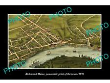 OLD LARGE HISTORIC PHOTO OF RICHMOND MAINE PANORAMA OF THE TOWN c1890