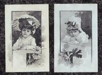 Lot 2 Large Victorian Stock Trade Cards Little Girls Daisy Parasol 7 x 4.5