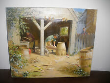"""24"""" OIL ON CANVAS PAINTING COUNTRY BARN WITH PEPLE WORKING  ARTIST ROY PERHAM"""