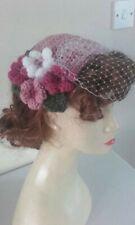 1940's 1950's birdcage veil half hat fascinator Pink net flowers wedding vintage