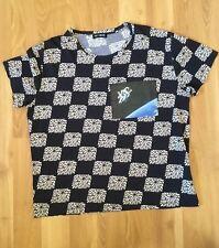 RAF SIMONS Astronaut Mens SZ M Black Square Print Cotton Short Sleeve T-Shirt