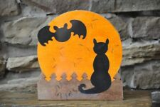 Black Cat and Bat on Halloween Moon  Fall Puzzle Wooden Toy Decoration NEW