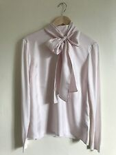BNWT TED BAKER BABRI PALE PINK TIE NECK BOW BLOUSE TOP SIZE 12