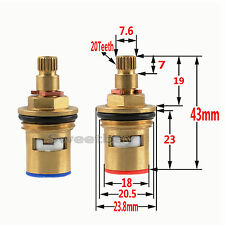 1/2 Replacement Brass Ceramic Disc Valve Tap Cartridge Insert Basin Bath Pair