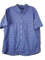 Cremieux Classics Men's XXL Blue Floral Cotton Short Sleeve Button Down Shirt