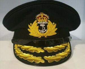 WW1 / WW2 Kings Crown British Royal Navy Admiral Flag Officers Peaked Cap Hat