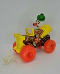 Vintage Fisher Price Wooden Pull Toy Jalopy With Clown