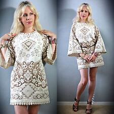 Vtg 70s Sheer CROCHET Scalloped Lace HIPPIE Runway White Wedding  Mini DRESS